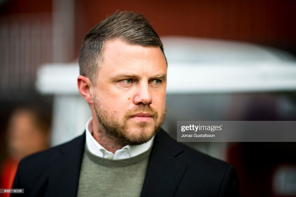 Jimmy Thelin, head coach of Jonkopings Sodra react during the Allsvenskan match between Jonkopings Sodra IF and IF Elfsborg at Stadsparksvallen on August 18, 2017 in Jonkoping, Sweden.