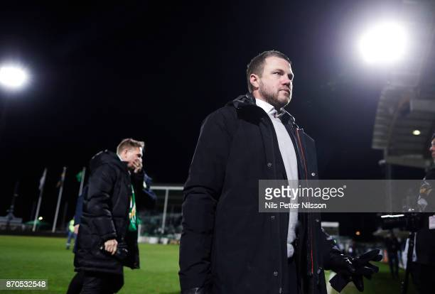 Jimmy Thelin head coach of Jonkopings Sodra walks off the pitch after the Allsvenskan match between Jonkopings Sodra IF and Ostersunds FK at...
