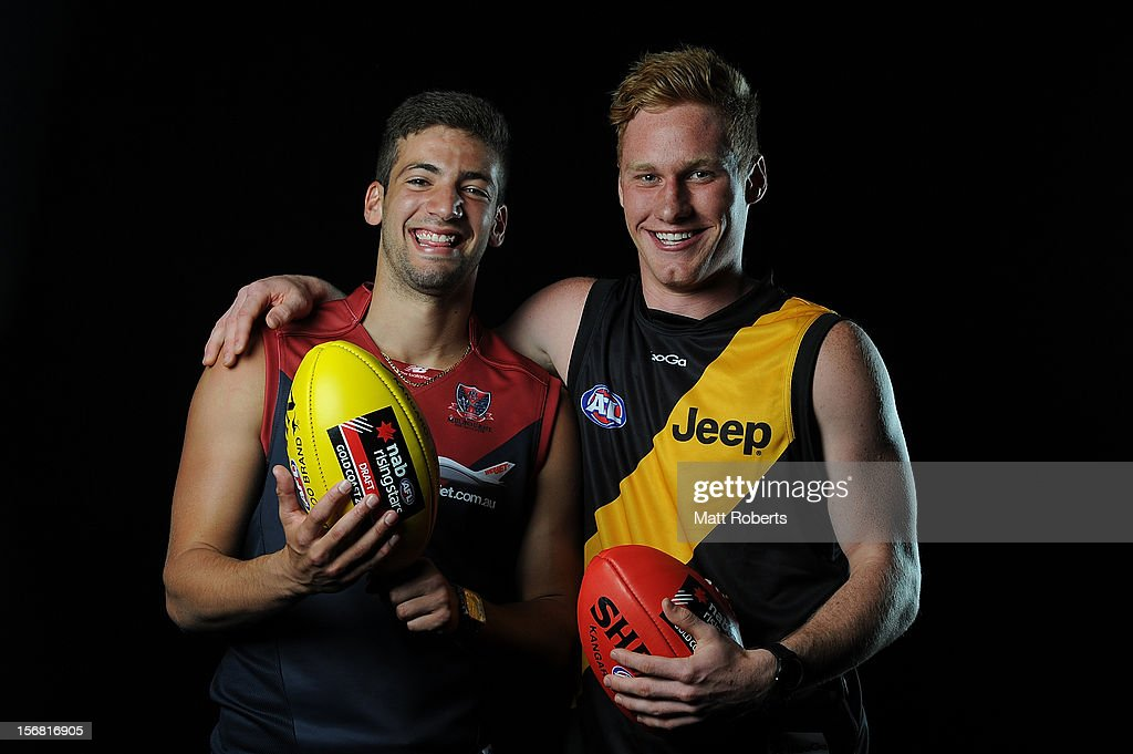 Jimmy Toumpas of Melbourne and Nick Valastuin of Richmond pose for a photograph during the 2012 AFL Draft at the Gold Coast Exhibition Centre on November 22, 2012 on the Gold Coast, Australia.