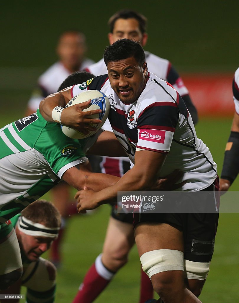 Jimmy Tuivaiti of North Harbour makes a break away during the round seven ITM Cup match between North Harbour and Manawatu at North Harbour Stadium on September 13, 2012 in Auckland, New Zealand.