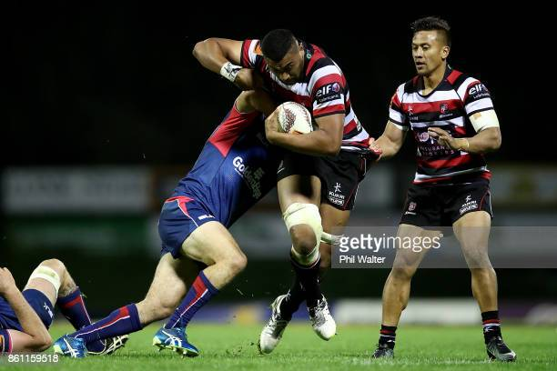 Jimmy Tupou of Counties is tackled during the round nine Mitre 10 Cup match between Counties Manukau and Tasman at ECOLight Stadium on October 14...