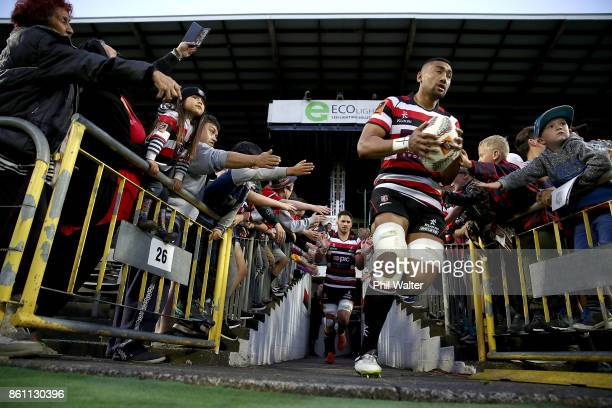 Jimmy Tupou of Counties leads the team out during the round nine Mitre 10 Cup match between Counties Manukau and Tasman at ECOLight Stadium on...