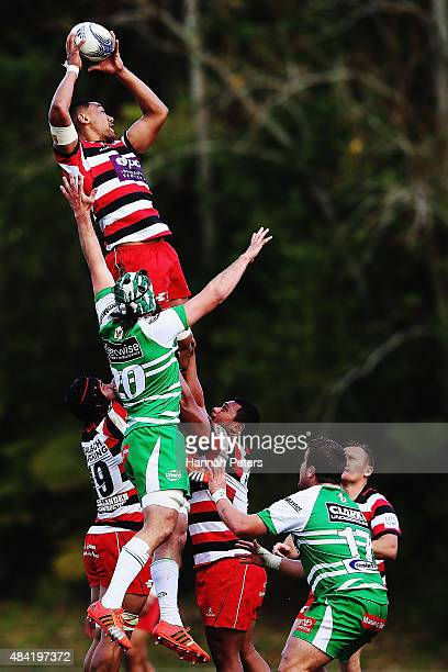 Jimmy Tupou of Counties Manukau wins lineout ball during the round one ITM Cup match between Counties Manukau and Manawatu at ECO Light Stadium on...