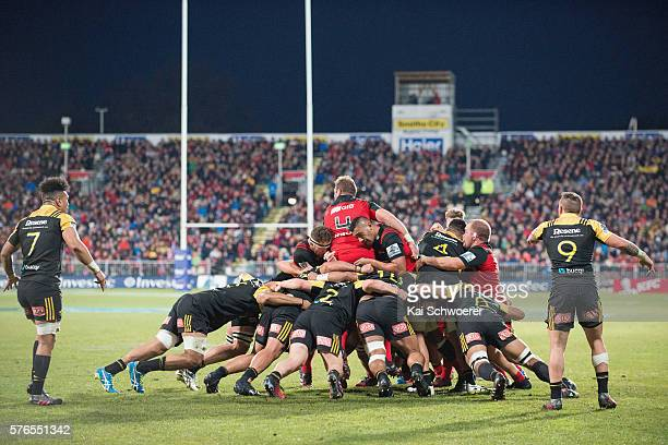Jimmy Tupou of the Crusaders in action during the round 17 Super Rugby match between the Crusaders and the Hurricanes at AMI Stadium on July 16 2016...