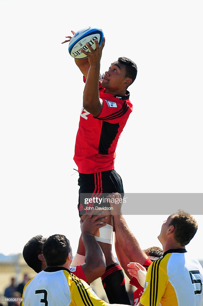 Jimmy Tupou of the Crusaders rises high in a line out to capture the ball during the 2013 Super Rugby pre-season friendly match between the Crusaders and the Hurricanes at Alpine Stadium on February 2, 2013 in Timaru, New Zealand.