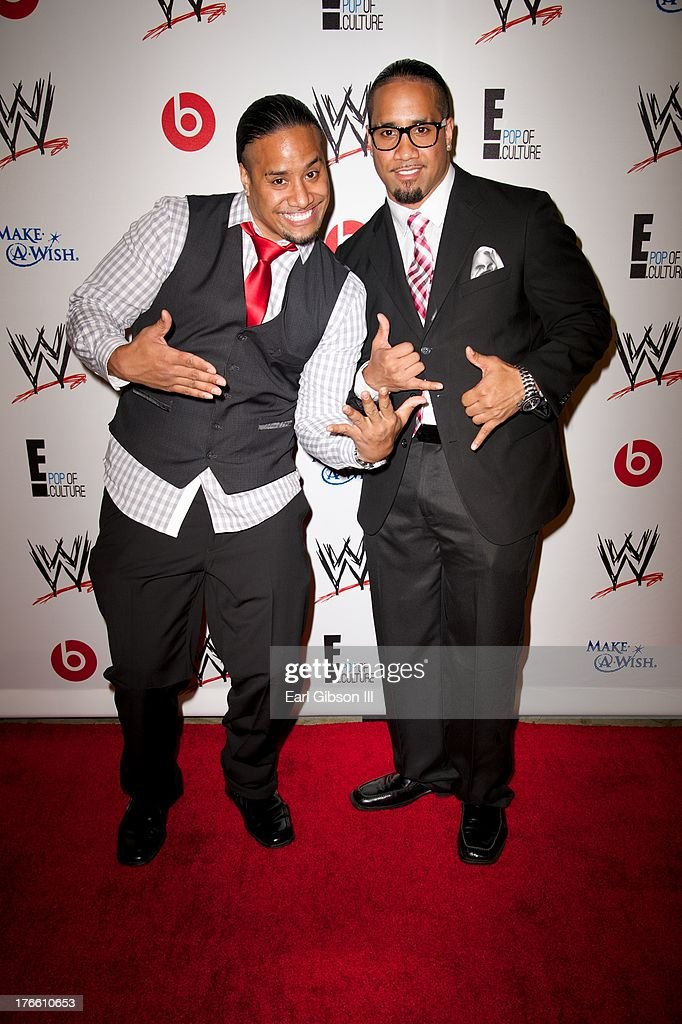 Jimmy Uso and Jey Uso attend the WWE SummerSlam VIP Party at Beverly Hills Hotel on August 15, 2013 in Beverly Hills, California.