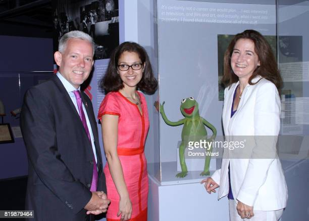 Jimmy Van Bramer Arabella Samoti and Cheryl Henson appear during the Jim Henson Exhibition ribbon cutting at Museum of the Moving Image on July 20...