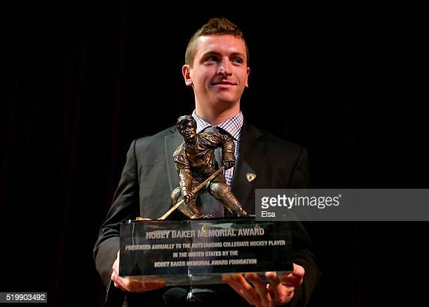 Jimmy Vesey of Harvard University and Hobey Baker Award winner poses with the trophy after the 2016 Hobey Baker Memorial Award ceremony at Tampa...