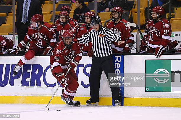 Jimmy Vesey of the Harvard Crimson skates against the Boston College Eagles during the second period of the 2015 Beanpot Tournament consolation game...