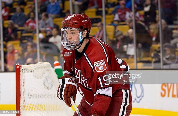 Jimmy Vesey of the Harvard Crimson skates against the Boston University Terriers during NCAA hockey in the semifinals of the annual Beanpot Hockey...
