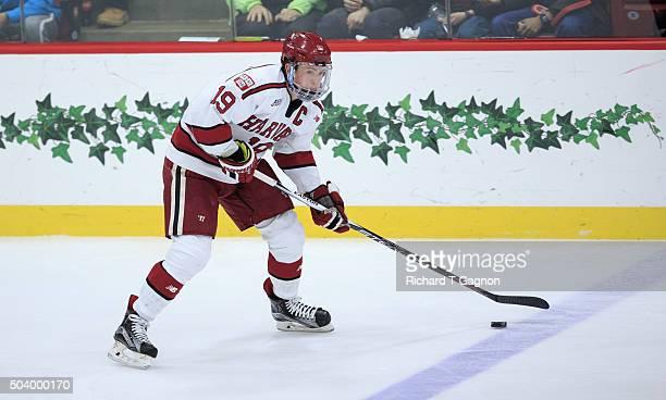 Jimmy Vesey of the Harvard Crimson skates against the Boston University Terriers during NCAA hockey at The BrightLandry Hockey Center on January 7...