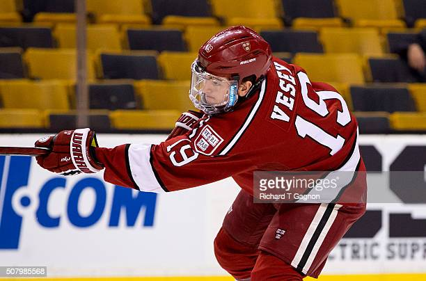 Jimmy Vesey of the Harvard Crimson warms up prior to NCAA hockey in the semifinals of the annual Beanpot Hockey Tournament against the Boston College...