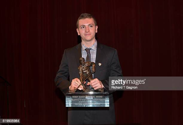 Jimmy Vesey of the Harvard Crimson wins the 2016 Hobey Baker Memorial Award ceremony at the Tampa Theatre on April 8 2016 in Tampa Florida