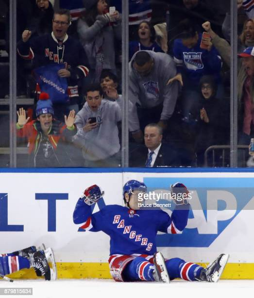 Jimmy Vesey of the New York Rangers celebrates his third period goal against the Vancouver Canucks at Madison Square Garden on November 26 2017 in...