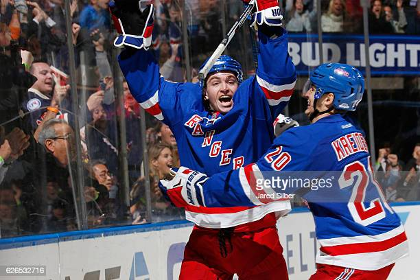 Jimmy Vesey of the New York Rangers reacts after scoring the game winning goal on a power play in the third period against the Carolina Hurricanes at...