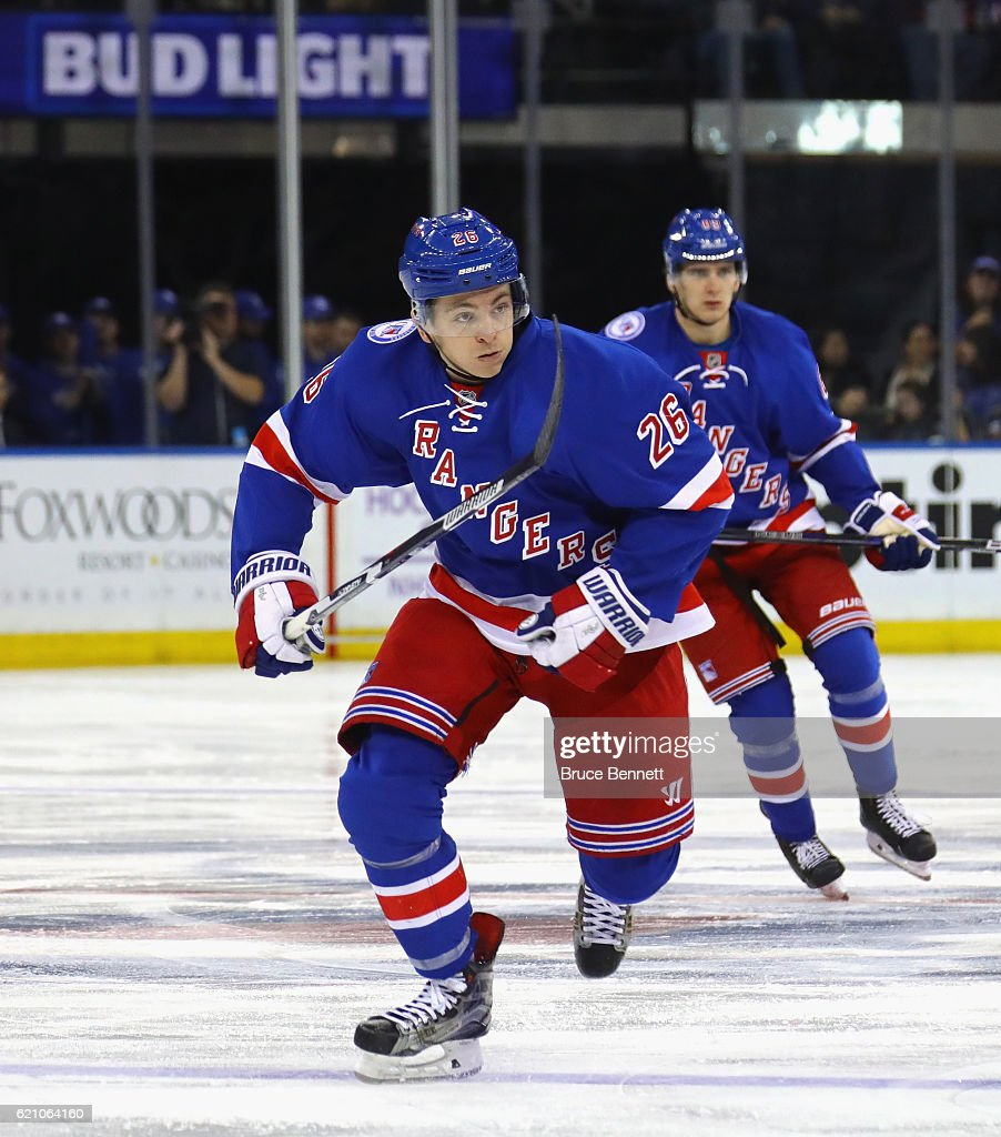 Jimmy Vesey #26 of the New York Rangers skates against the Edmonton Oilers at Madison Square Garden on November 3, 2016 in New York City. The Rangers defeated the Oilers 5-3.