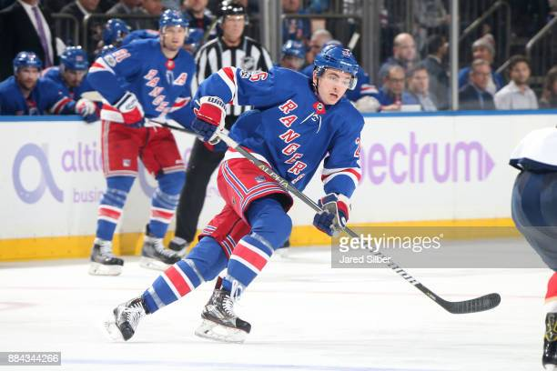 Jimmy Vesey of the New York Rangers skates against the Florida Panthers at Madison Square Garden on November 28 2017 in New York City The Florida...