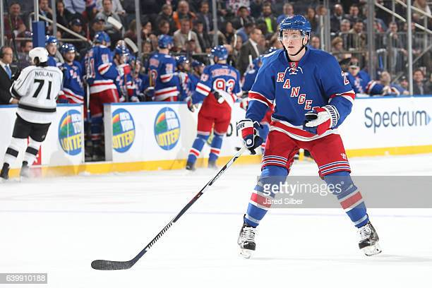 Jimmy Vesey of the New York Rangers skates against the Los Angeles Kings at Madison Square Garden on January 23 2017 in New York City The New York...