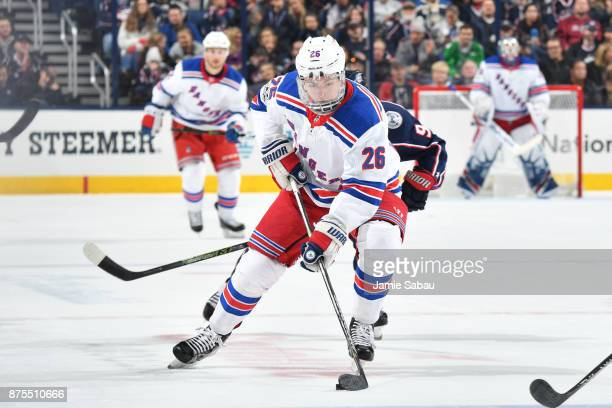 Jimmy Vesey of the New York Rangers skates with the puck during the second period of a game against the Columbus Blue Jackets on November 17 2017 at...