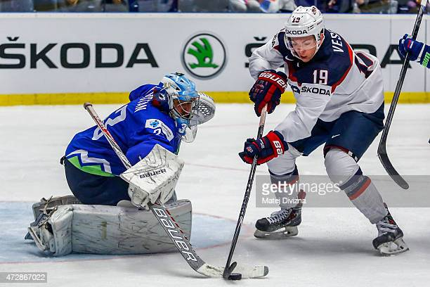 Jimmy Vesey of USA tries to score against Robert Kristan goalkeeper of Slovenia during the IIHF World Championship group B match between Slovenia and...