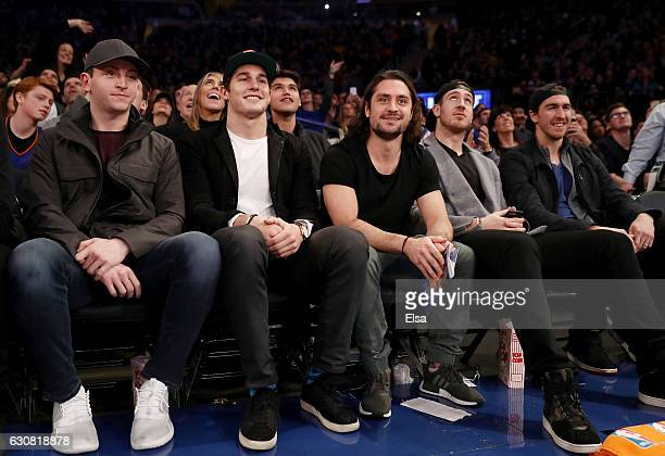 Jimmy VeseyBrady SkjeiMatts ZuccarelloKevin Hayes and Ryan McDonagh of the New York Rangers attend the game between the New York Knicks and the...