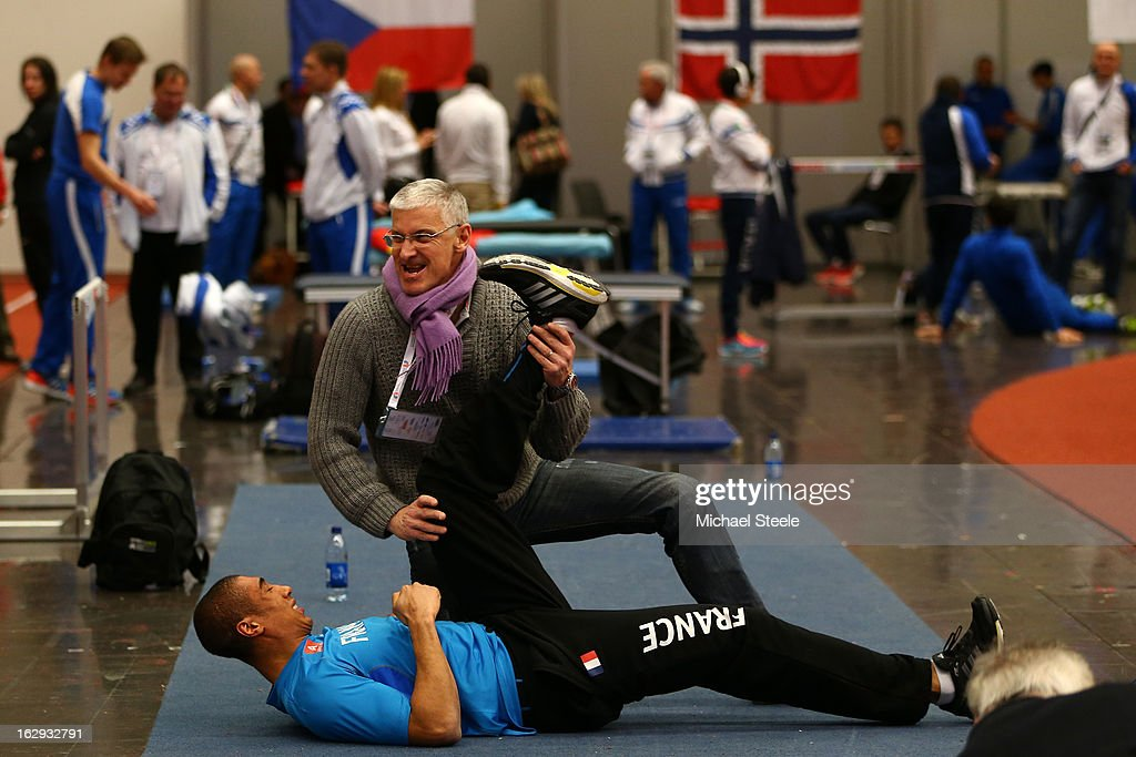 Jimmy Vicau of France stretches in the warm up area during day one of the European Athletics Indoor Championships at Scandinavium on March 1, 2013 in Gothenburg, Sweden.