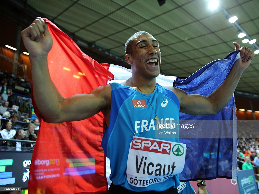<a gi-track='captionPersonalityLinkClicked' href=/galleries/search?phrase=Jimmy+Vicaut&family=editorial&specificpeople=7124608 ng-click='$event.stopPropagation()'>Jimmy Vicaut</a> of France celebrates winning gold in the Men's 60m Final during day two of the European Athletics Indoor Championships at Scandinavium on March 2, 2013 in Gothenburg, Sweden.