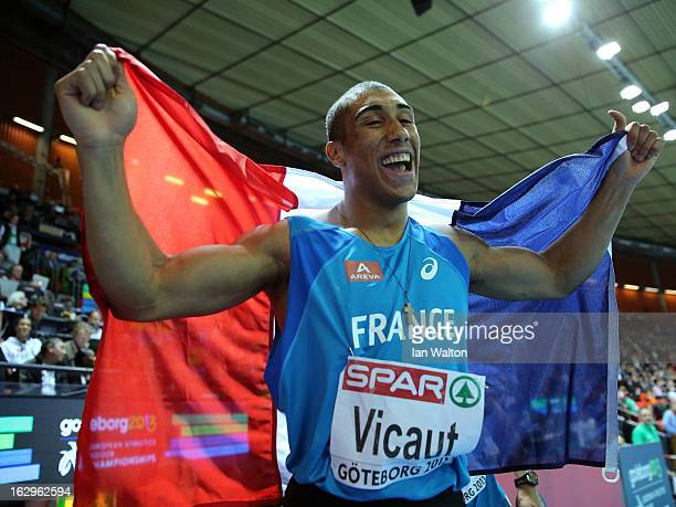 Jimmy Vicaut of France celebrates winning gold in the Men's 60m Final during day two of the European Athletics Indoor Championships at Scandinavium...