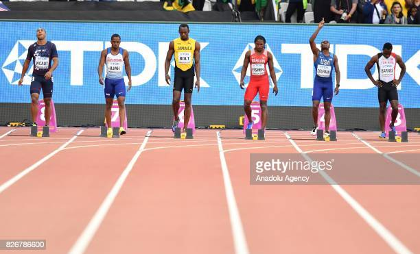 Jimmy Vicaut of France Chijindu Ujah of Great Britain Usain Bolt of Jamaica Andrew Fisher of Bahrain Christian Coleman of USA and Emre Zafer Barnes...