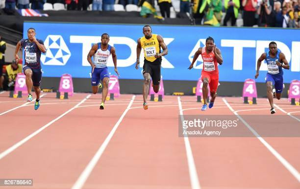 Jimmy Vicaut of France Chijindu Ujah of Great Britain Usain Bolt of Jamaica Andrew Fisher of Bahrain and Christian Coleman of USA compete in the...