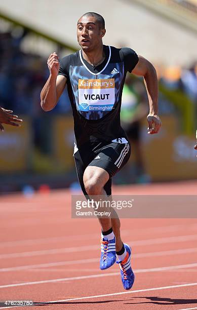 Jimmy Vicaut of France competes in Mens 100 metre heats during the Sainsbury's Birmingham Grand Prix at Alexander Stadium on June 7 2015 in...