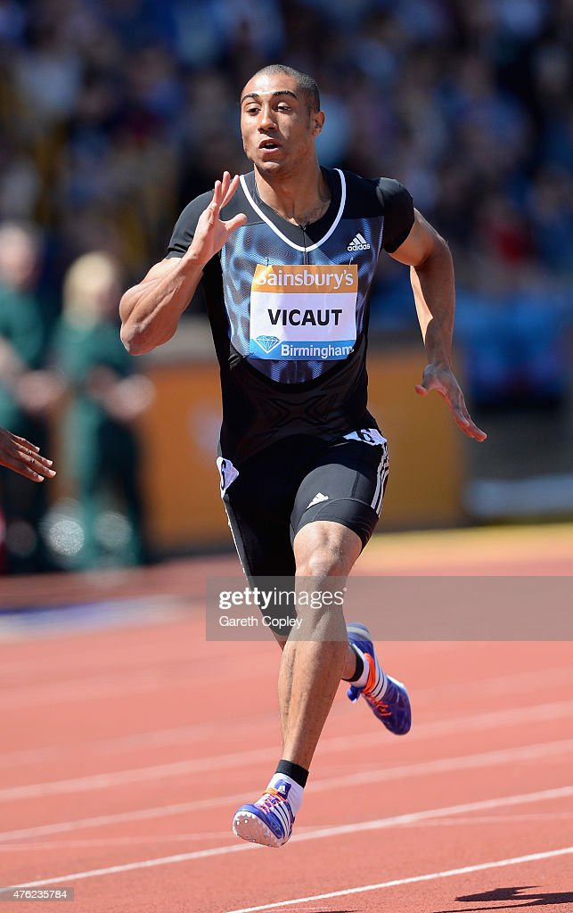 <a gi-track='captionPersonalityLinkClicked' href=/galleries/search?phrase=Jimmy+Vicaut&family=editorial&specificpeople=7124608 ng-click='$event.stopPropagation()'>Jimmy Vicaut</a> of France competes in Mens 100 metre heats during the Sainsbury's Birmingham Grand Prix at Alexander Stadium on June 7, 2015 in Birmingham, England.