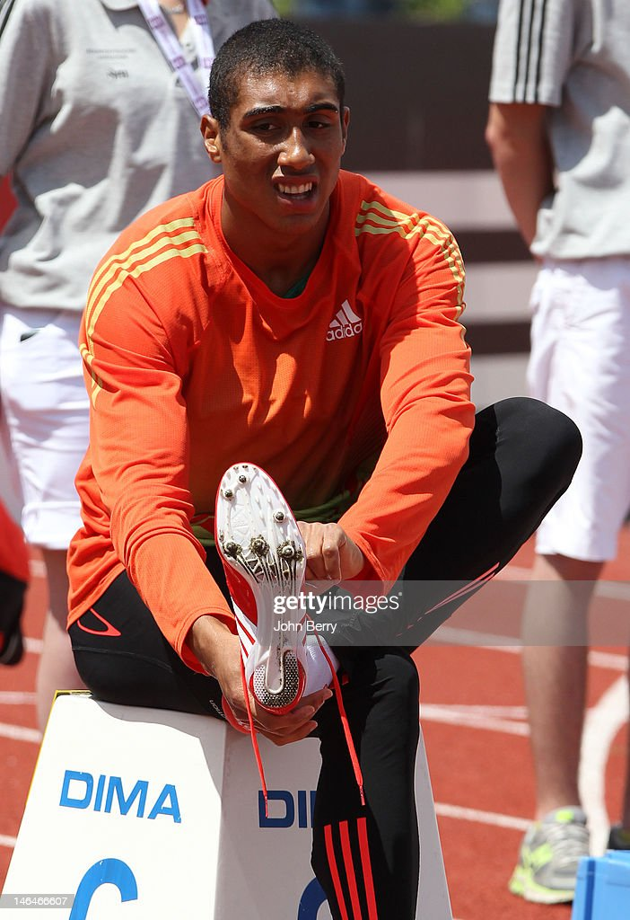 <a gi-track='captionPersonalityLinkClicked' href=/galleries/search?phrase=Jimmy+Vicaut&family=editorial&specificpeople=7124608 ng-click='$event.stopPropagation()'>Jimmy Vicaut</a> of France competes in the 100m during the 2012 French Elite Athletics Championships at the Stade du Lac de Maine on June 16, 2012 in Angers, France.