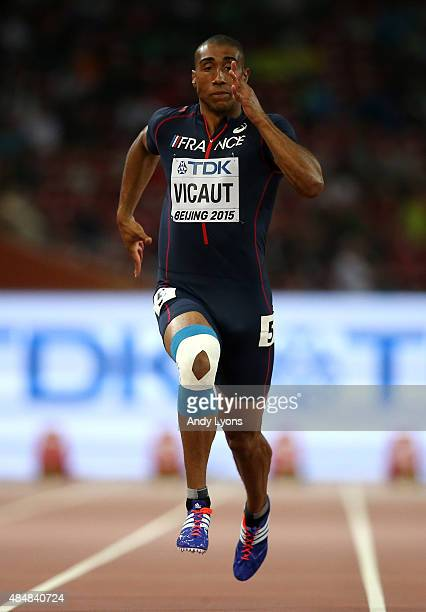 Jimmy Vicaut of France competes in the Men's 100 metres heats during day one of the 15th IAAF World Athletics Championships Beijing 2015 at Beijing...