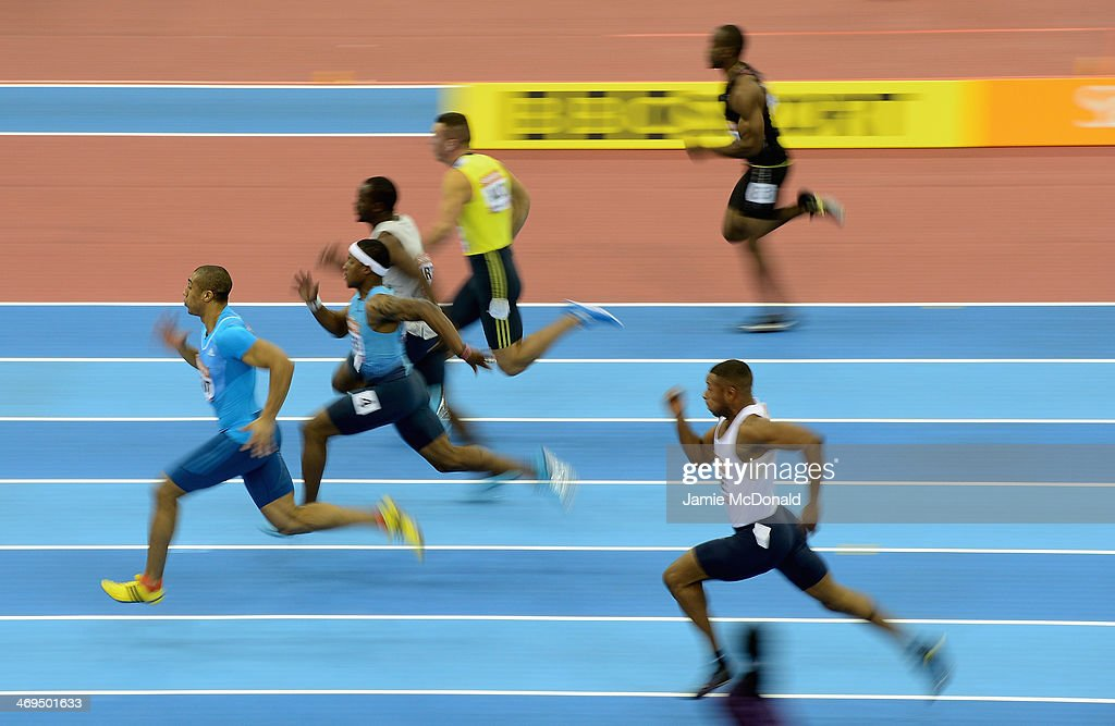 <a gi-track='captionPersonalityLinkClicked' href=/galleries/search?phrase=Jimmy+Vicaut&family=editorial&specificpeople=7124608 ng-click='$event.stopPropagation()'>Jimmy Vicaut</a> of France runs in the 60 metres during the Sainsbury's Indoor Grand Prix at the NIA Arena on February 15, 2014 in Birmingham, England.