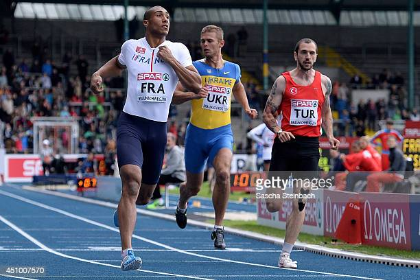 Jimmy Vicaut of France Vitaly Korzh of Ukraine and Ramil Guliyev of Turkey compete in the Men's 100m during first day of the European Athletics Team...