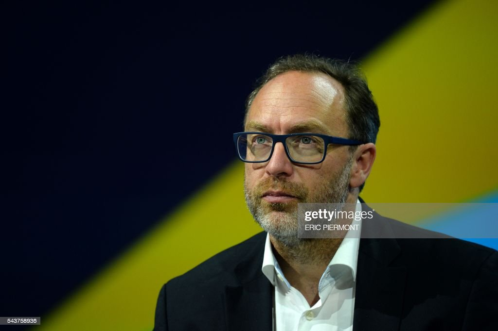 Jimmy Wales, co-founder and promoter of the online non-profit encyclopedia Wikipedia attends the Viva Technology event in Paris on June 30, 2016. / AFP / ERIC
