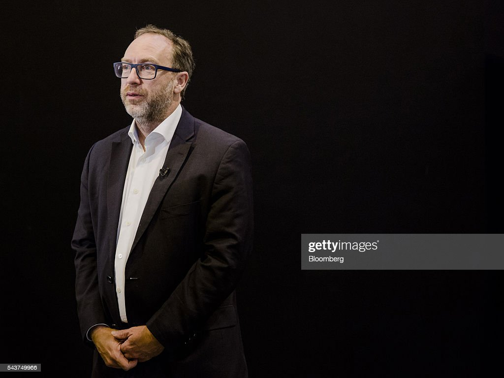 <a gi-track='captionPersonalityLinkClicked' href=/galleries/search?phrase=Jimmy+Wales&family=editorial&specificpeople=836275 ng-click='$event.stopPropagation()'>Jimmy Wales</a>, co-founder of Wikipedia, pauses during an interview at Viva Technology conference in Paris, France, on Thursday, June 30, 2016. The first edition of the new European Tech conference Viva Technology brings together 5,000 startups with top investors and future shaping companies. Photographer: Marlene Awaad/Bloomberg via Getty Images
