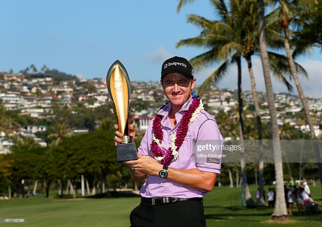 <a gi-track='captionPersonalityLinkClicked' href=/galleries/search?phrase=Jimmy+Walker+-+Golfista&family=editorial&specificpeople=11493198 ng-click='$event.stopPropagation()'>Jimmy Walker</a> celebrates with the winner's trophy after the final round of the Sony Open In Hawaii at Waialae Country Club on January 18, 2015 in Honolulu, Hawaii.