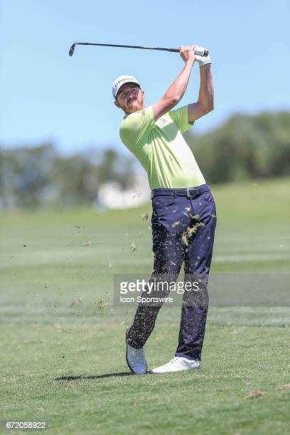 Jimmy Walker follows his approach shot during the 4th round of the Valero Texas Open at the TPC San Antonio Oaks Course in San Antonio TX on April 23...