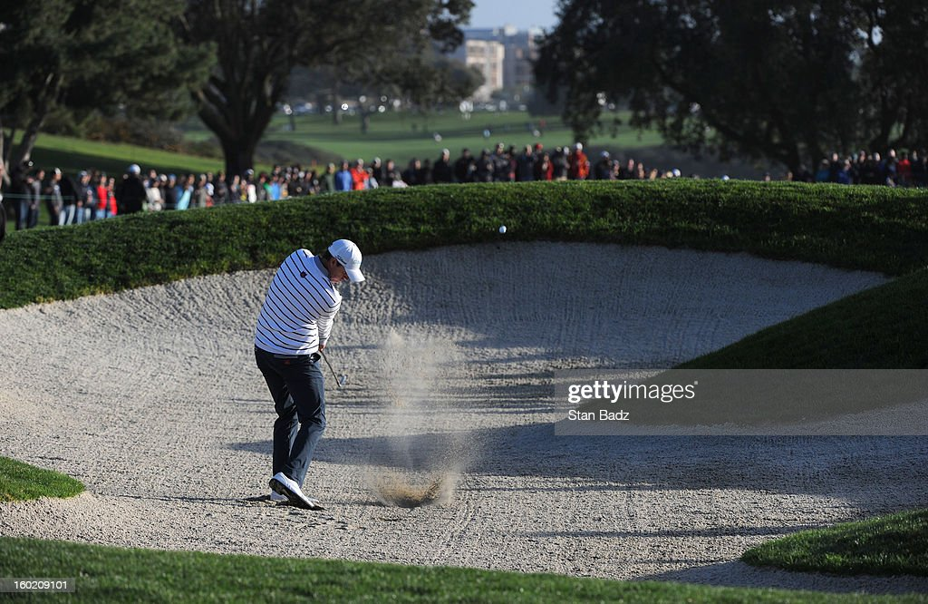 Jimmy Walker hits from a bunker on the fifth hole during the final round of the Farmers Insurance Open at Torrey Pines Golf Course on January 27, 2013 in La Jolla, California.