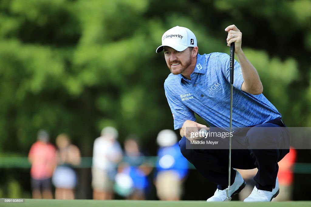 Jimmy Walker lines up a putt on the second green during the third round of the Deutsche Bank Championship at TPC Boston on September 4, 2016 in Norton, Massachusetts.