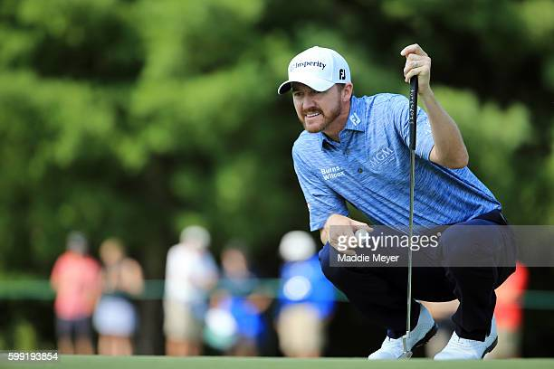 Jimmy Walker lines up a putt on the second green during the third round of the Deutsche Bank Championship at TPC Boston on September 4 2016 in Norton...