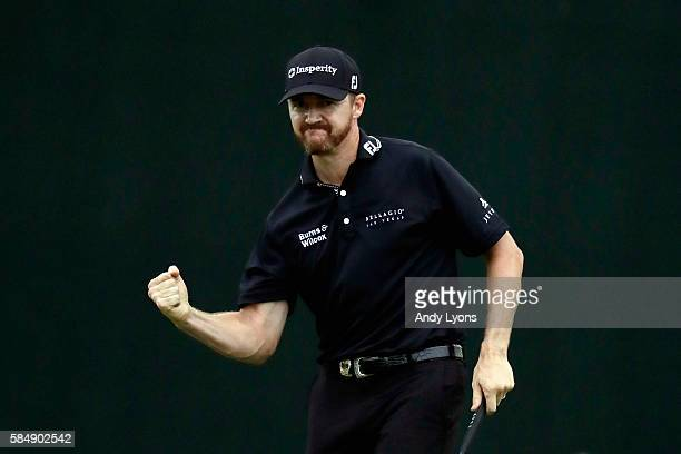 Jimmy Walker of the United States celebrates his putt for par on the 18th hole to win the 2016 PGA Championship at Baltusrol Golf Club on July 31...