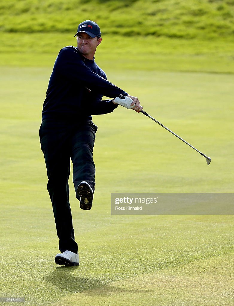 <a gi-track='captionPersonalityLinkClicked' href=/galleries/search?phrase=Jimmy+Walker+-+Golfista&family=editorial&specificpeople=11493198 ng-click='$event.stopPropagation()'>Jimmy Walker</a> of the United States hits his second shot on the 14th hole during the Morning Fourballs of the 2014 Ryder Cup on the PGA Centenary course at the Gleneagles Hotel on September 27, 2014 in Auchterarder, Scotland.
