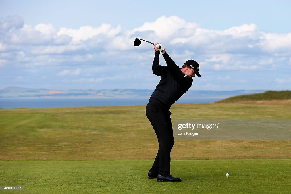 Jimmy Walker of the United States hits his tee shot on the tenth hole during the third round of the Aberdeen Asset Management Scottish Open at Gullane Golf Club on July 11, 2015 in Gullane, East Lothian, Scotland.