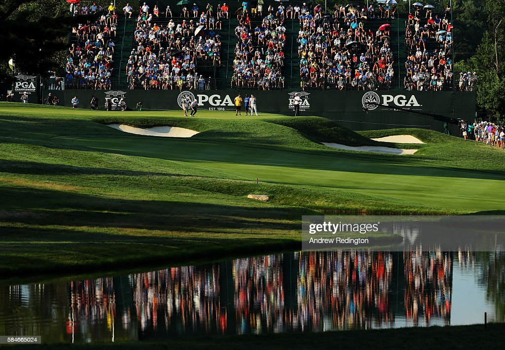 Jimmy Walker of the United States lines up a putt on the 18th green during the second round of the 2016 PGA Championship at Baltusrol Golf Club on July 29, 2016 in Springfield, New Jersey.