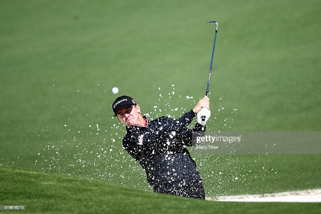 Jimmy Walker of the United States plays a shot from a bunker on the second hole during the second round of the 2016 Masters Tournament at Augusta...
