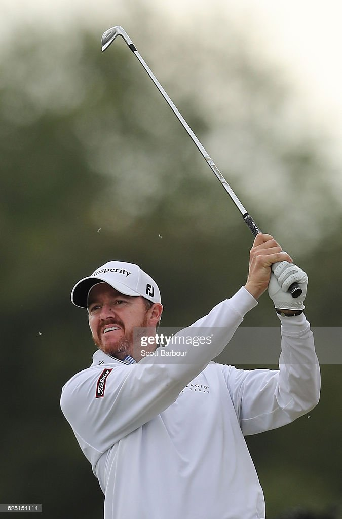 Jimmy Walker of the United States plays a shot on Pro-Am Day ahead of the World Cup of Golf at Kingston Heath Golf Club on November 23, 2016 in Melbourne, Australia.