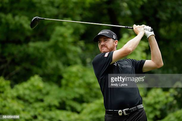 Jimmy Walker of the United States plays his shot from the third tee during the final round of the 2016 PGA Championship at Baltusrol Golf Club on...